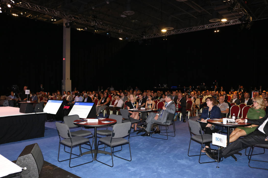 Several hundred gaming industry insiders attend Dave & Buster's CEO Stephen King's keynote Wednesday, Oct. 4, 2017, at G2E at the Sands Expo and Convention Center in Las Vegas. (Nicole Raz/Las ...