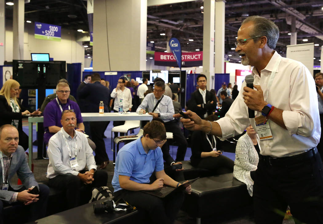 Robert Rippee, who leads the Hospitality Lab at UNLV's International Gaming Institute, speaks during Global Gaming Expo at the Sands Expo and Convention Center on Thursday Oct. 5, 2017, in Las Veg ...