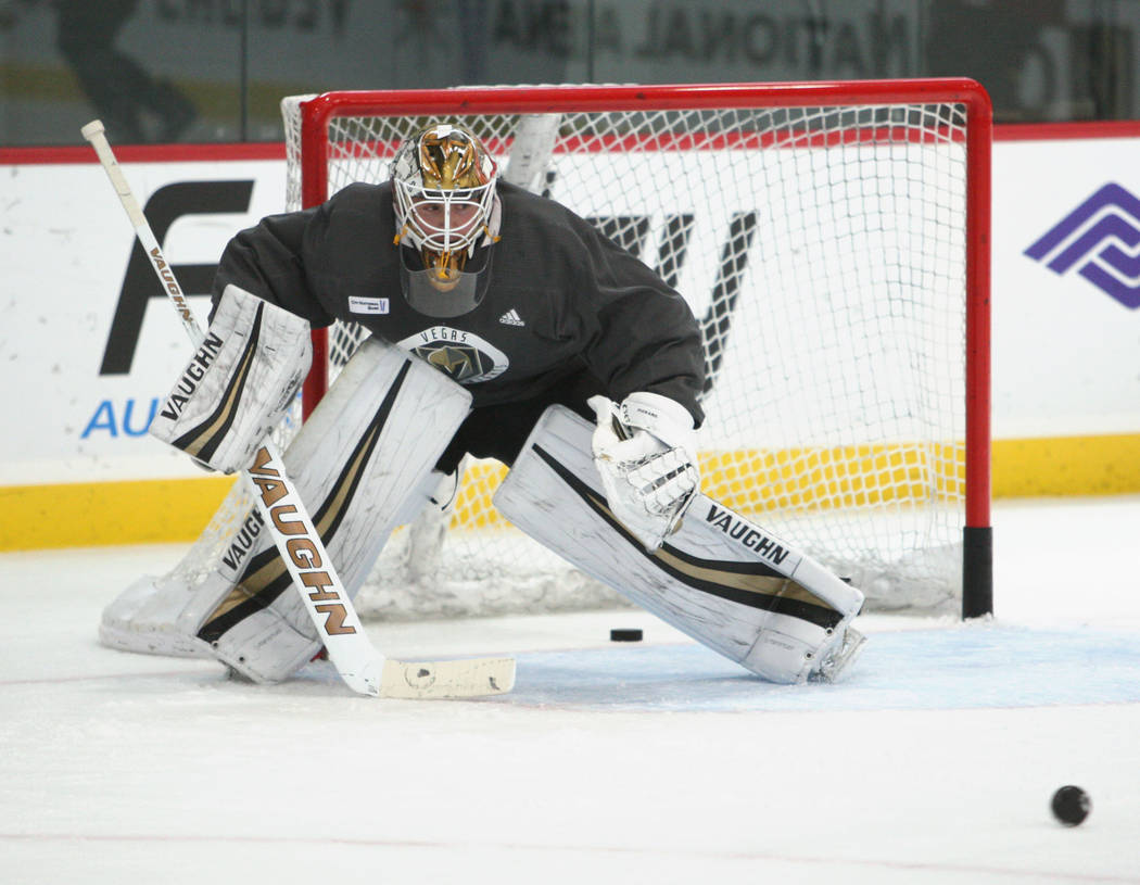 Vegas Golden Knights goalie Calvin Pickard (31) keeps an eye on the puck during the team's practice at City National Arena in Las Vegas, Tuesday, Oct. 3, 2017. Gabriella Benavidez Las Vegas Review ...