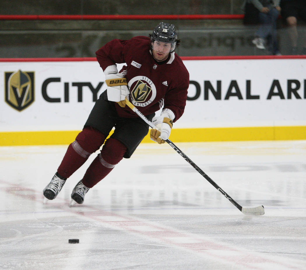 Vegas Golden Knights right wing James Neal (18) lines up for a shot during the team's practice at City National Arena in Las Vegas, Tuesday, Oct. 3, 2017. Gabriella Benavidez Las Vegas Review-Jour ...