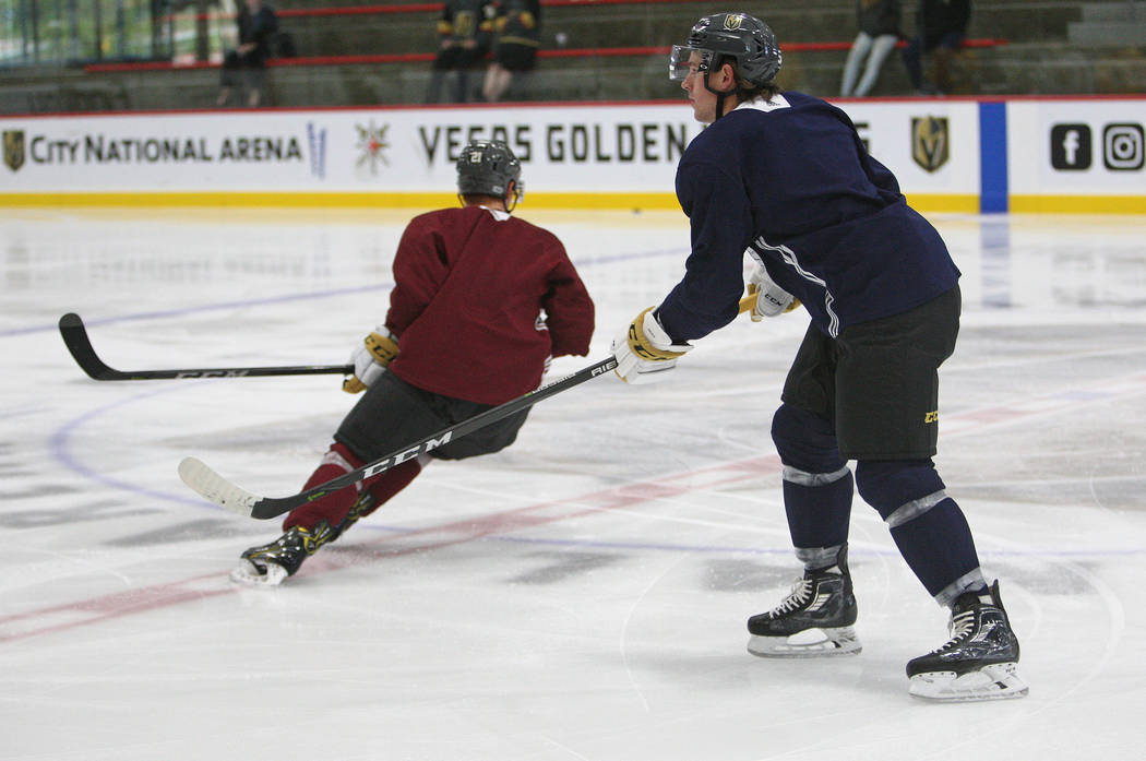Vegas Golden Knights left wing Erik Haula (56), left, lines up for a drill during the team's practice at City National Arena in Las Vegas, Tuesday, Oct. 3, 2017. Gabriella Benavidez Las Vegas Revi ...