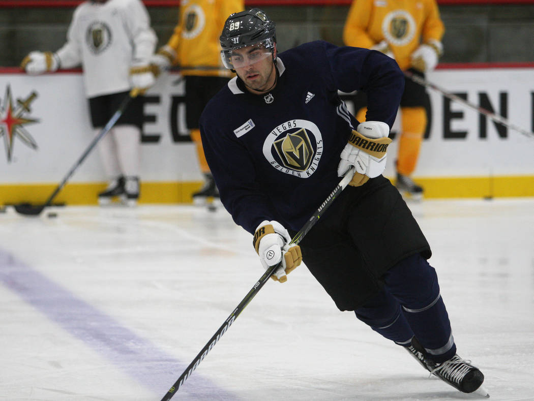 Vegas Golden Knights right wing Alex Tuch (89) lines up for a drill during the team's practice at City National Arena in Las Vegas, Tuesday, Oct. 3, 2017. Gabriella Benavidez Las Vegas Review-Jour ...