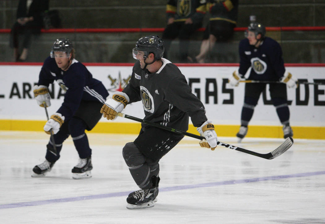 Vegas Golden Knights defense Brad Hunt (77), right, lines up for a drill during the team's practice at City National Arena in Las Vegas, Tuesday, Oct. 3, 2017. Gabriella Benavidez Las Vegas Review ...