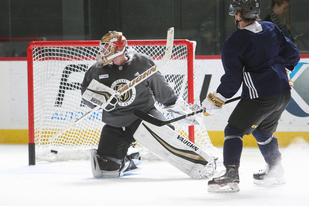 Vegas Golden Knights goalie Calvin Pickard (31) looks to block a shot during the team's practice at City National Arena in Las Vegas, Tuesday, Oct. 3, 2017. Gabriella Benavidez Las Vegas Review-Jo ...