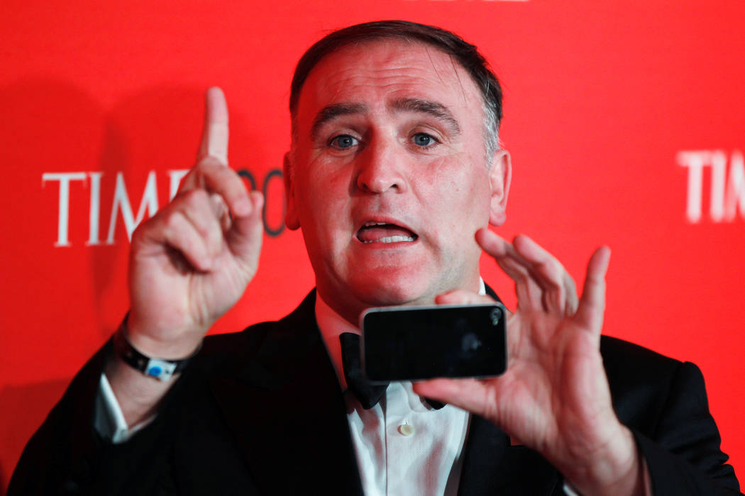 Chef Jose Andres arrives to be honored at the Time 100 Gala in New York, April 24, 2012. (Lucas Jackson/File, Reuters)