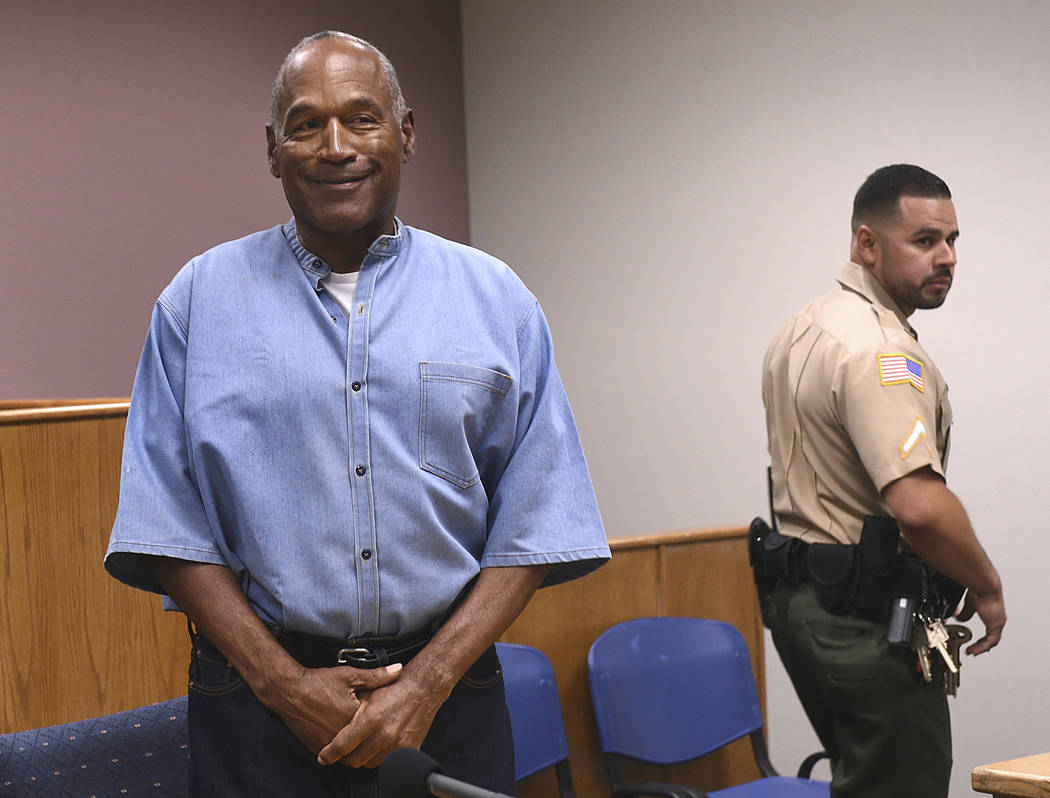 O.J. Simpson is seen during a parole hearing at Lovelock Correctional Center on Thursday, July 20, 2017. (Jason Bean/The Reno Gazette-Journal via AP, Pool)