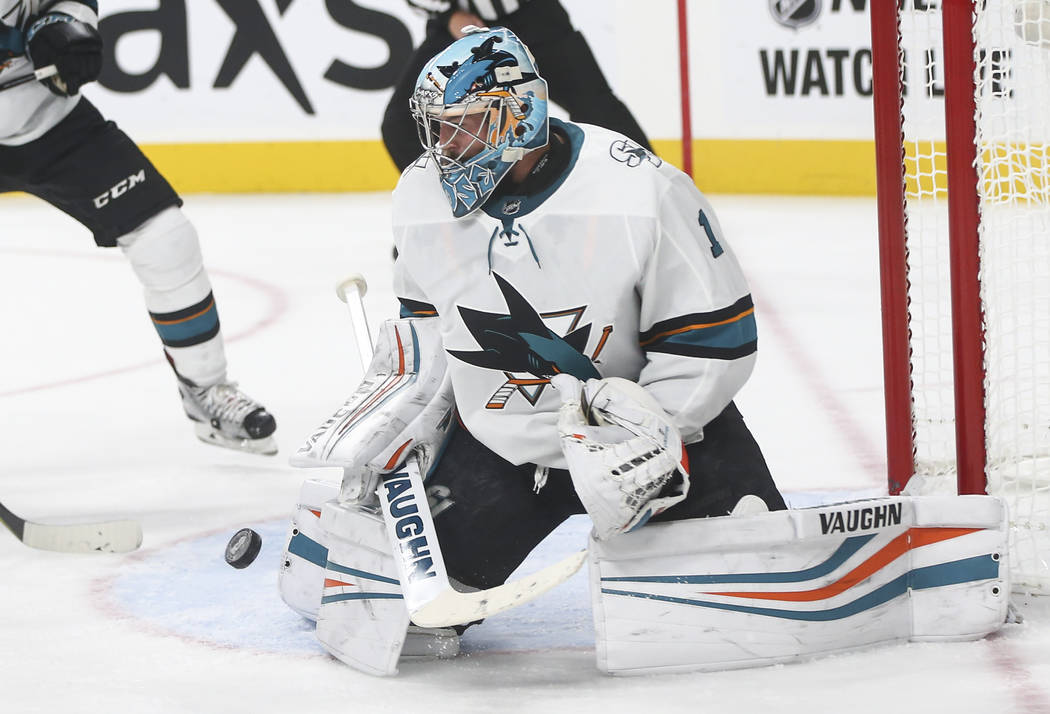 San Jose Sharks Goalie Troy Grosenick 1 Makes A Save During The Third Period Of An Nhl Preseason Hockey Game Against The Golden Knights At T Mobile Arena In Las Vegas On Sunday