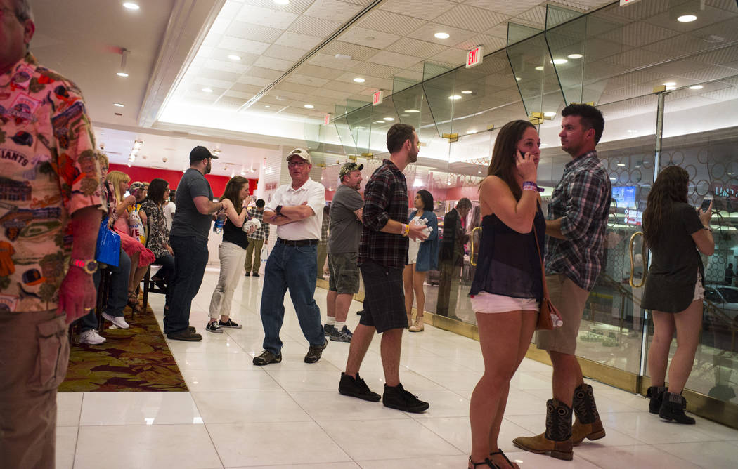 People in the casino area as the Tropicana Las Vegas goes on lockdown during an active shooter situation on the Las Vegas Strip on Sunday, Oct. 1, 2017. Chase Stevens Las Vegas Review-Journal @css ...
