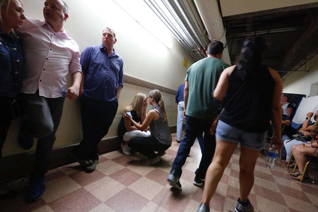 People evacuate to the Luxor during a shooting on the Strip on Sunday, Oct. 1, 2017, in Las Vegas. (Chitose Suzuki/Las Vegas Review-Journal)