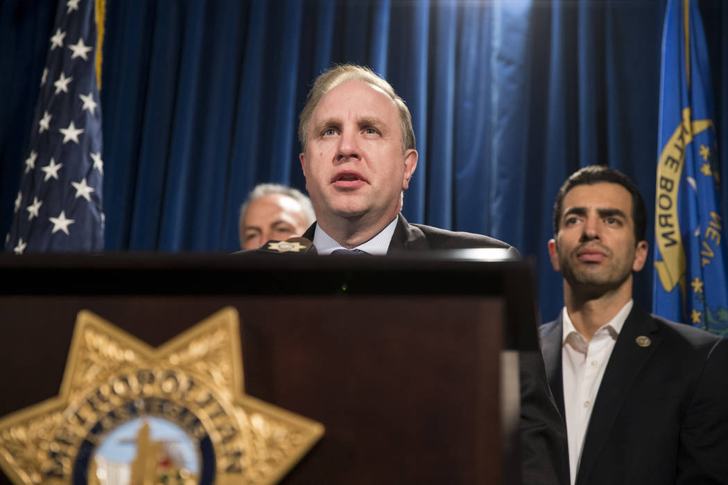 Aaron C. Rouse, special agent in charge for the FBI in Nevada, discusses the mass shooting during a press conference at the Las Vegas Metropolitan Police Department headquarters in Las Vegas, Mond ...