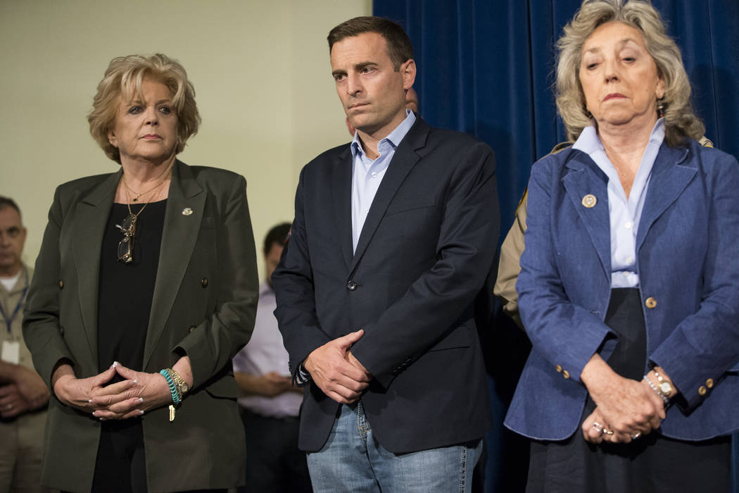 Las Vegas Mayor Carolyn Goodman, from left, Nevada Attorney General Adam Laxalt, and U.S. Rep. Dina Titus, D-Nev., during a press conference on the mass shooting, at the Las Vegas Metropolitan Pol ...