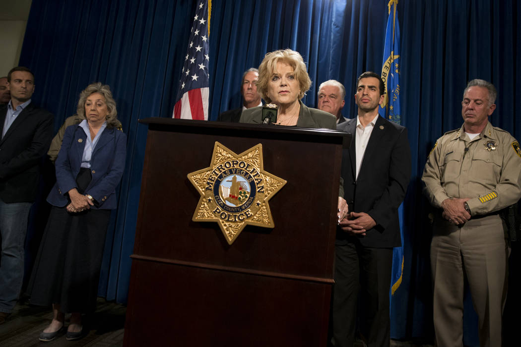 Las Vegas Mayor Carolyn Goodman discusses the mass shooting during a press conference at the Las Vegas Metropolitan Police Department headquarters in Las Vegas, Monday, Oct. 2, 2017. Erik Verduzco ...