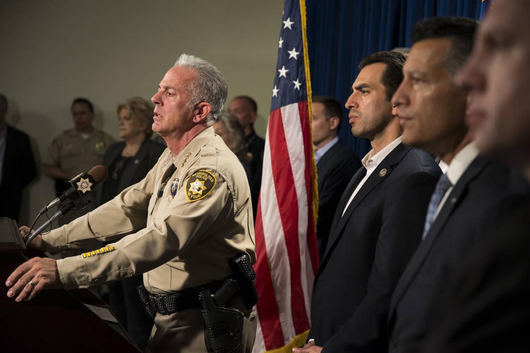 Clark County Sheriff Joe Lombardo discusses the mass shooting during a press conference at the Las Vegas Metropolitan Police Department headquarters in Las Vegas, Monday, Oct. 2, 2017. Erik Verduz ...