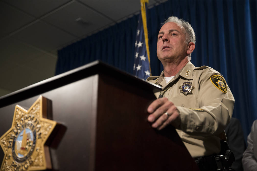Clark County Sheriff Joe Lombardo discusses the mass shooting during a press conference at the Las Vegas Metropolitan Police Department headquarters in Las Vegas, Monday, Oct. 2, 2017. Erik Verduz ...