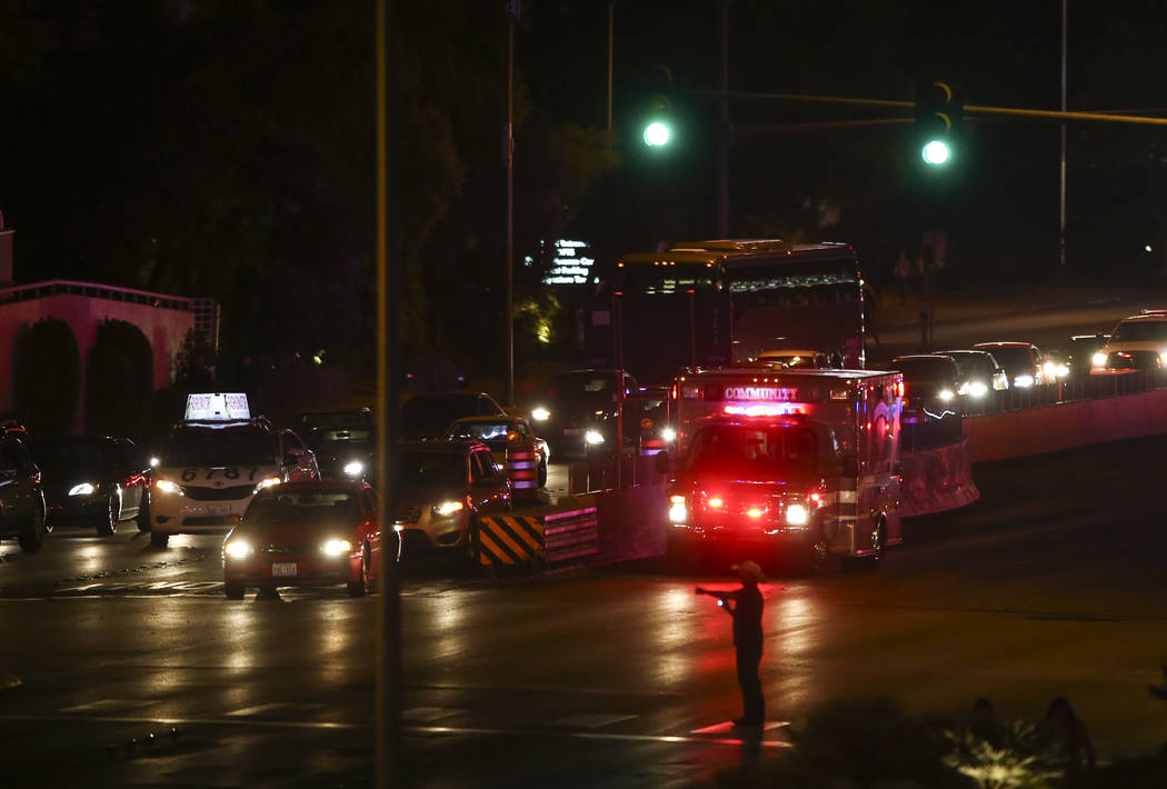 An ambulance heads down Tropicana avenue near Las Vegas Boulevard during an active shooter situation in Las Vegas on Sunday, Oct. 1, 2017. Chase Stevens Las Vegas Review-Journal @csstevensphoto