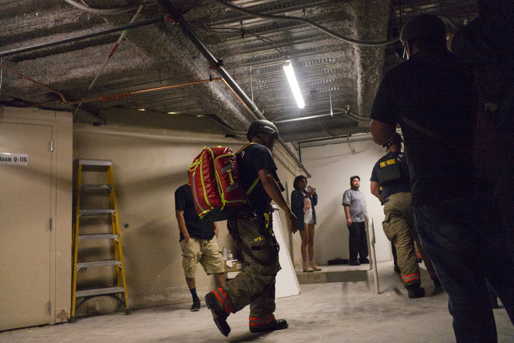 Emergency workers in the Tropicana during an active shooter situation on the Las Vegas Stirp in Las Vegas on Sunday, Oct. 1, 2017. Chase Stevens Las Vegas Review-Journal @csstevensphoto