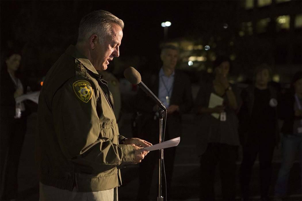 Las Vegas Metropolitan Police Department Sheriff Joseph Lombardo address the media outside Las Vegas Police Department Headquarters in Las Vegas, Sunday, Oct. 1, 2017. Bridget Bennett Las Vegas Re ...