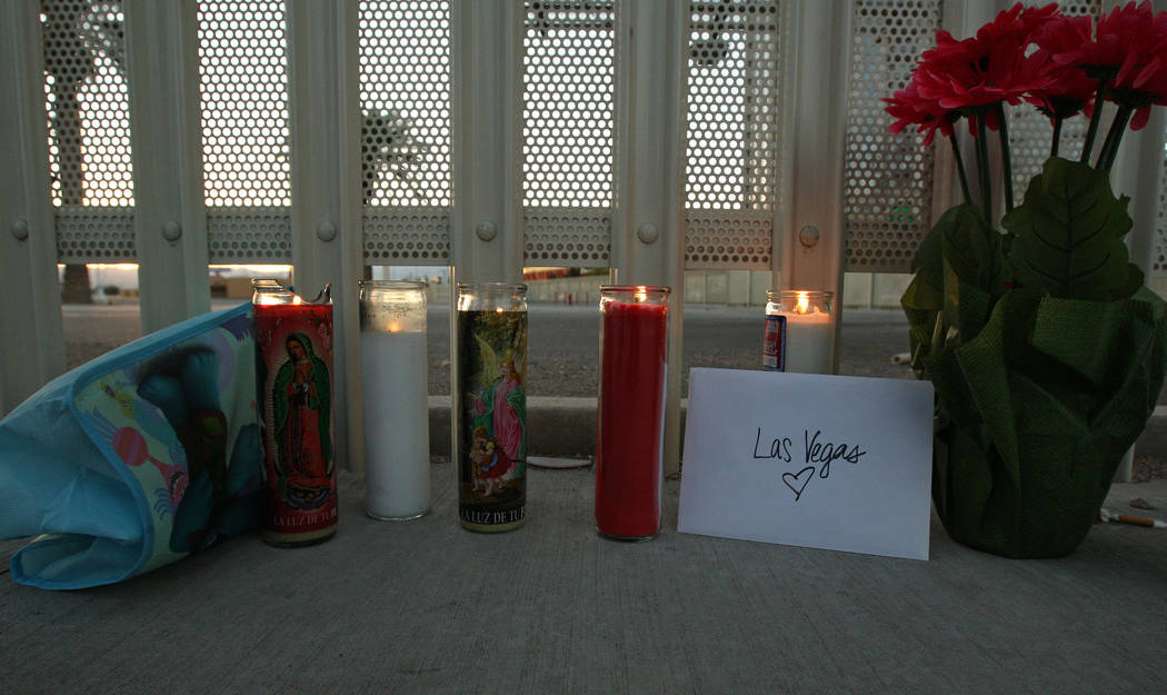 Candles lit for the victims of the shooting that occurred Oct. 1, near East Sahara Avenue and South Las Vegas Boulevard in Las Vegas, Monday, Oct. 2, 2017. Gabriella Benavidez Las Vegas Review-Jou ...