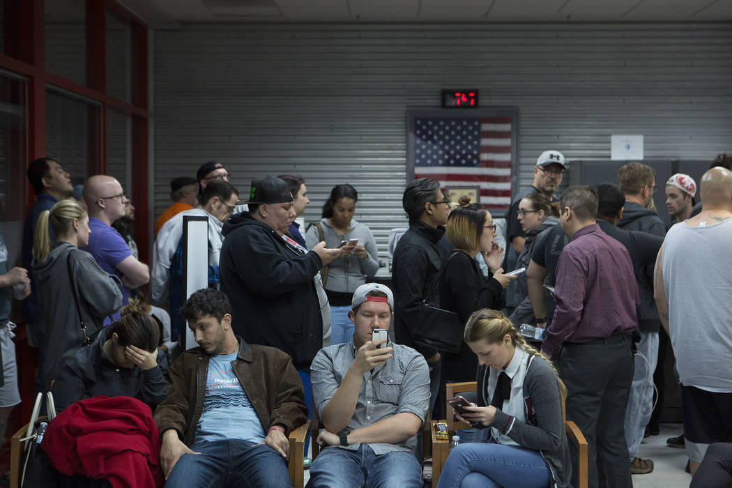 People fill United Blood Services in Las Vegas Monday, Oct. 2, 2017, as they wait to donate blood following a shooting on the Strip that left 59 dead and over 500 injured Sunday night. Bridget Ben ...