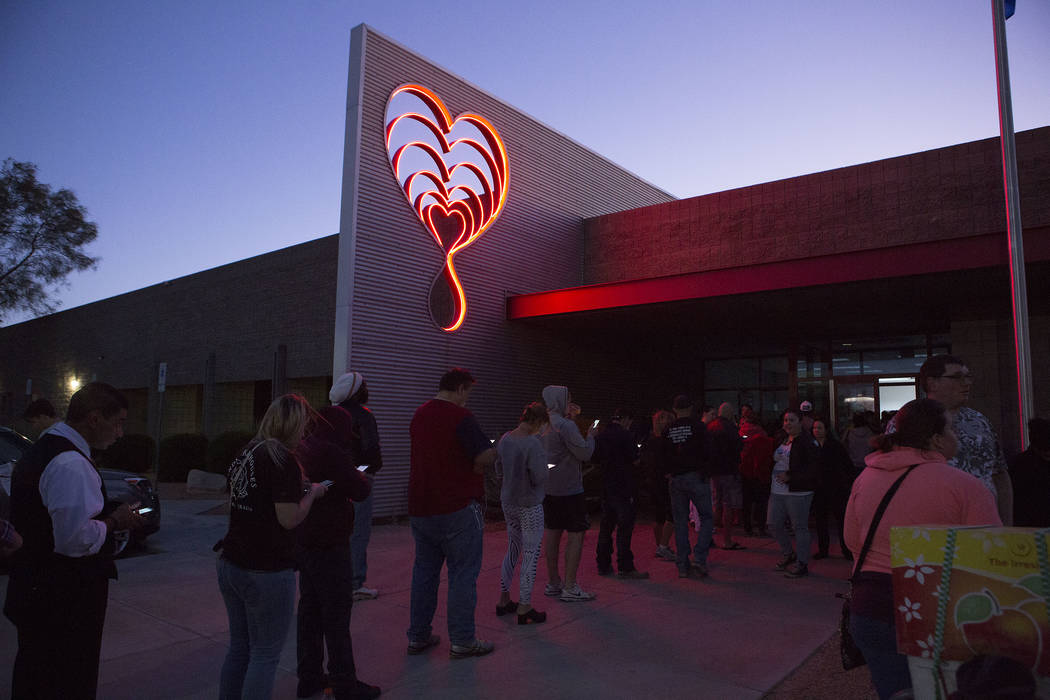 People line up to donate blood at United Blood Services in Las Vegas Monday, Oct. 2, 2017, following a shooting on the Strip that left 59 dead and over 500 injured Sunday night. Bridget Bennett La ...