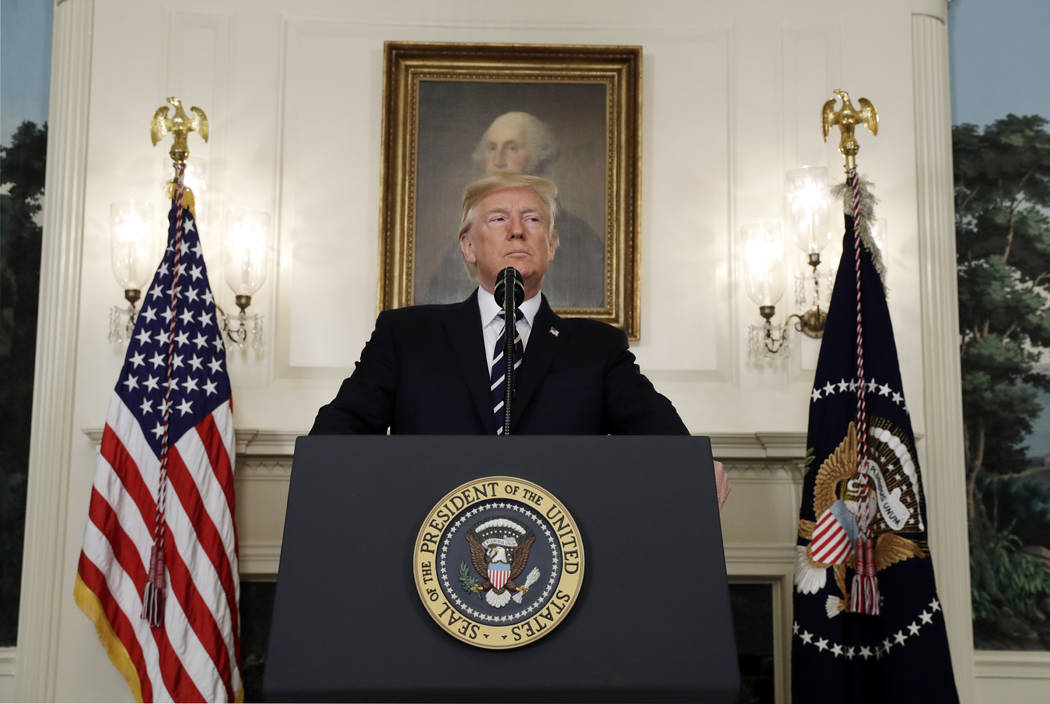 President Donald Trump makes a statement about the mass shooting in Las Vegas, Monday, Oct. 2, 2017 at the White House in Washington. (Evan Vucci/AP)