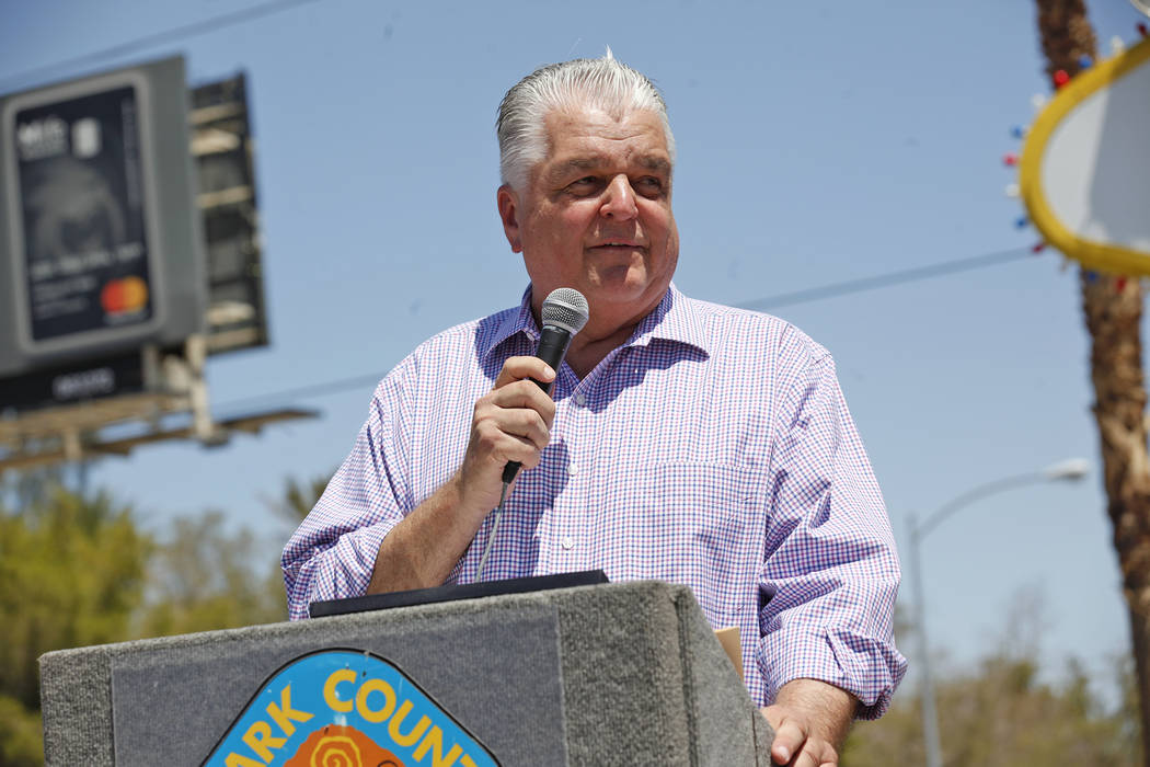Commission Chairman Steve Sisolak speaks to the crowd at the Welcome to Fabulous Las Vegas sign on Monday, June 19, 2017, in Las Vegas. (Rachel Aston/Las Vegas Review-Journal) @rookie__rae
