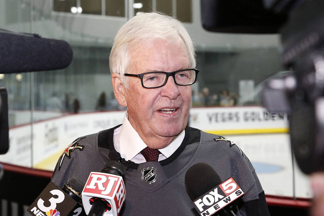 Vegas Golden Knights owner Bill Foley addresses the media after the grand opening ceremony of City National Arena on Monday, Sept. 18, 2017, in Las Vegas. Bizuayehu Tesfaye Las Vegas Review-Journa ...
