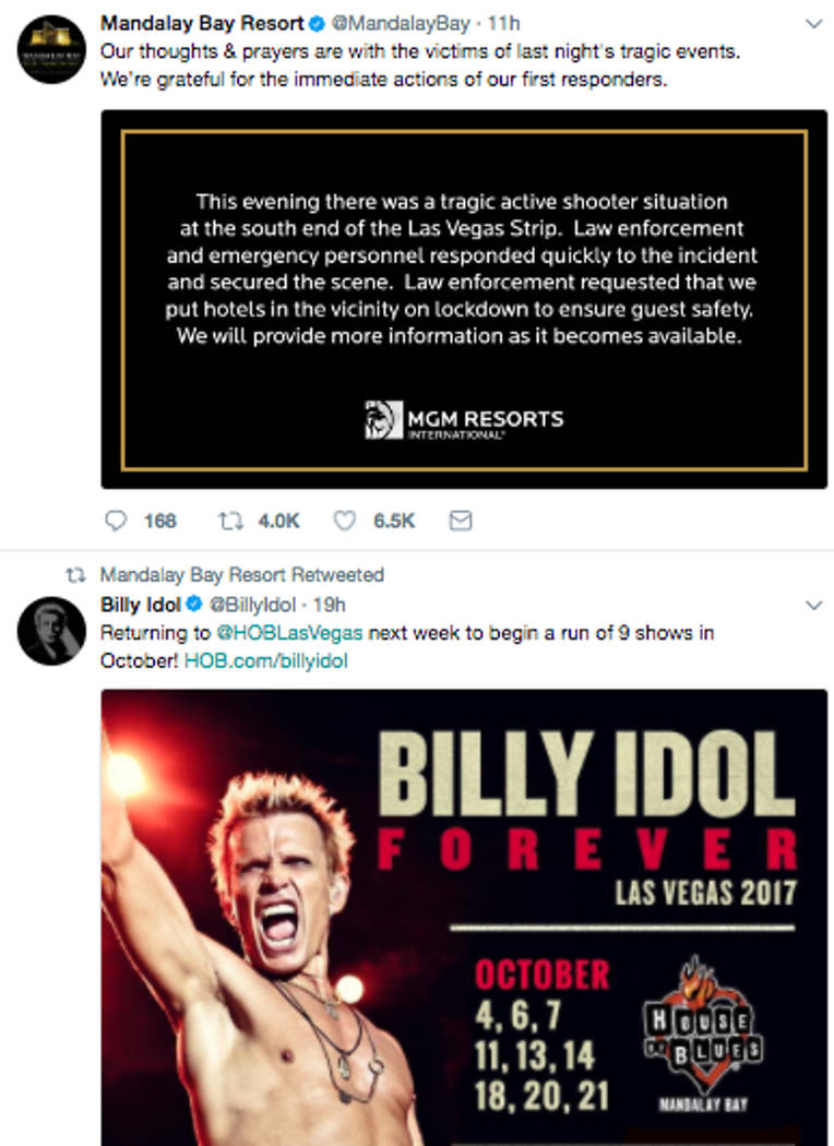 Between a Twitter retweet promoting upcoming Billy Idol performances at 9:30 Sunday night and a Tweet expressing condolences and information about a lockdown at 5:35 a.m., Mandalay Bay did not com ...