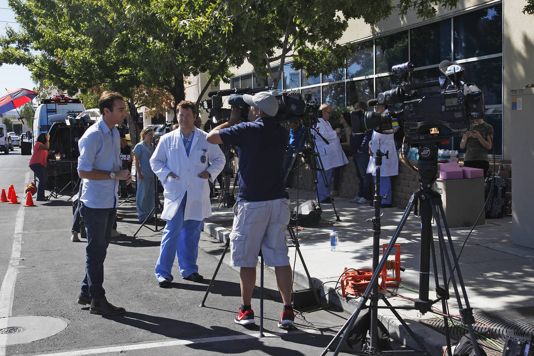 Personal from the University Medical Center address the media in front of a UMC building in Las Vegas, Monday, Oct. 2, 2017. UMC accepted 104 people injured from the shooting at Mandalay Bay, not  ...