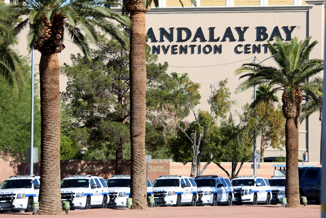 Las Vegas Strip blocked off due to police activity on Monday, Oct. 2, 2017, near Mandalay Bay hotel-casino where at least 58 people were killed and more than 400 others were injured when a gunman  ...