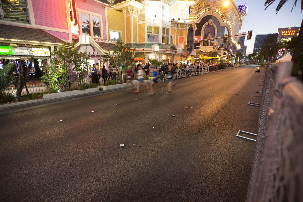 Runners compete in the annual Rock 'n' Roll Marathon at the Strip near The Mirage hotel-casino on Sunday, Nov. 13, 2016, in Las Vegas. Erik Verduzco/Las Vegas Review-Journal Follow @ ...