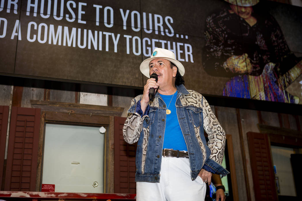 Carlos Santana shares his gratitude that he and the House of Blues have partnered with Habitat for Humanity and will build a community in Henderson, at House of Blues in the Mandalay Bay hotel-cas ...