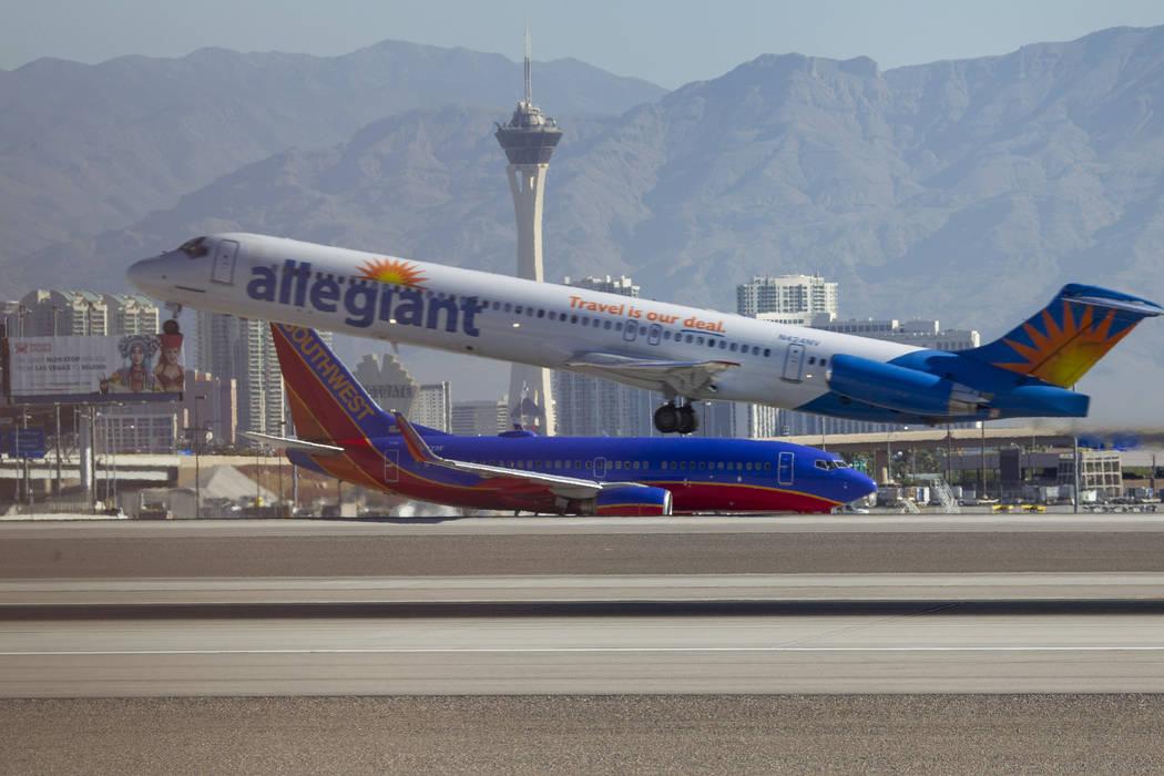 An Allegiant Air jetliner departs from McCarran International Airport in Las Vegas on Wednesday, June 28, 2017. (Richard Brian/Las Vegas Review-Journal) @vegasphotograph