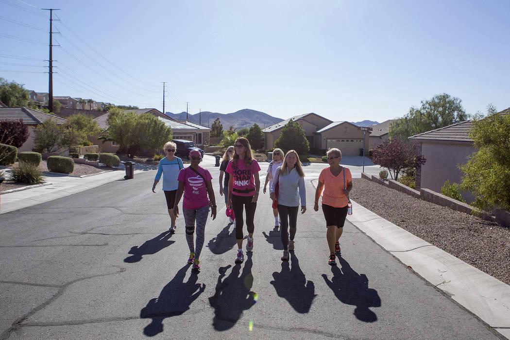Frances Friday-Pinkard, second from left, walks with her friends in Henderson, Tuesday, Oct. 10, 2017. Bridget Bennett Las Vegas Review-Journal @BridgetKBennett