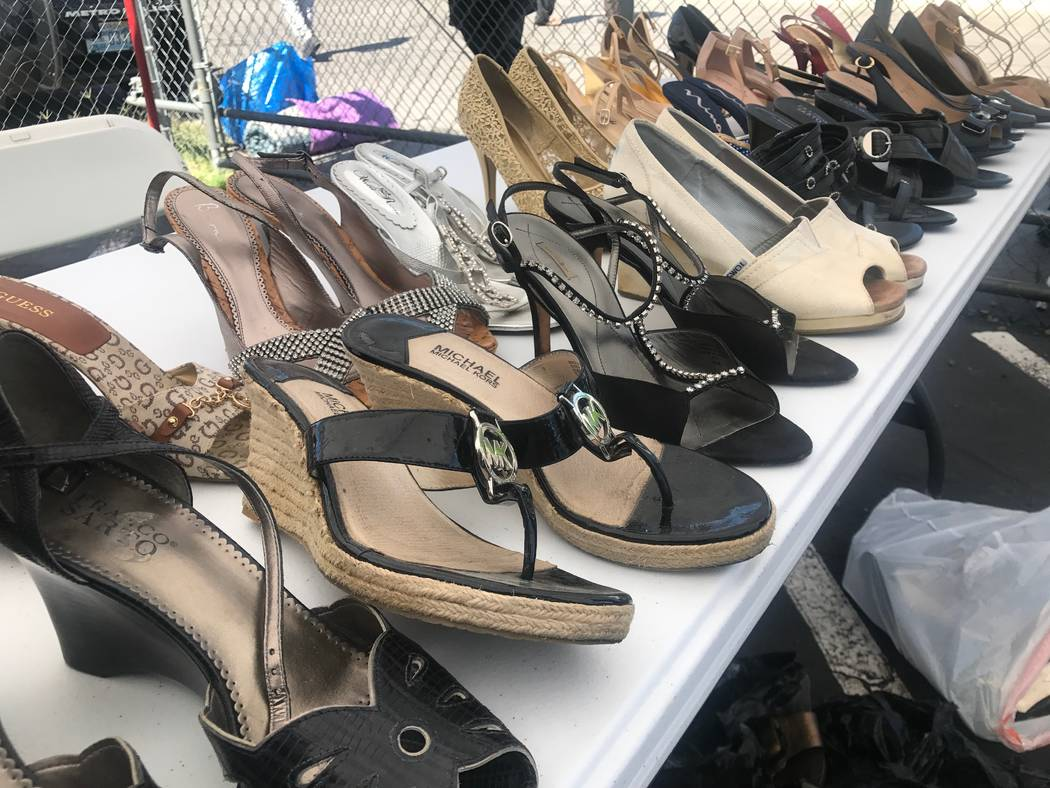 Shoes are displayed at the Day of Dignity event on Sunday, Oct. 1, 2017 at Masjid As-Sabur, 711 Morgan Ave. (Kailyn Brown/View) @KailynHype