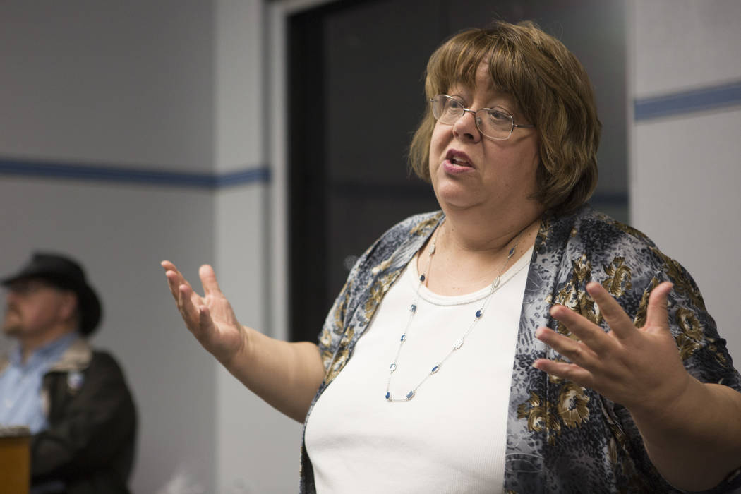 North Las Vegas city council ward 3 candidate Anita Wood speaks as election results roll in during a North Las Vegas Democratic Club is meeting Tuesday, April 4, 2017, in Las Vegas. (Bridget Benne ...