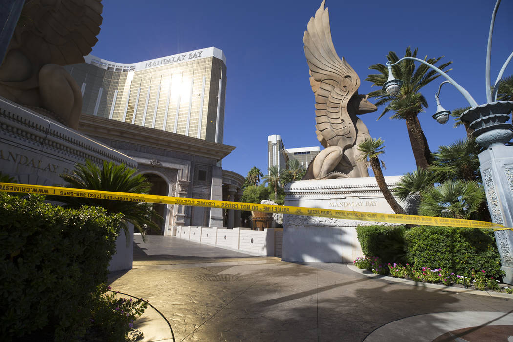 Two broken windows on the 32nd floor of Mandalay Bay Monday, Oct. 2, 2017, after a Strip shooting left 58 dead and over 518 injured in Las Vegas Sunday night. Richard Brian Las Vegas Review-Journa ...