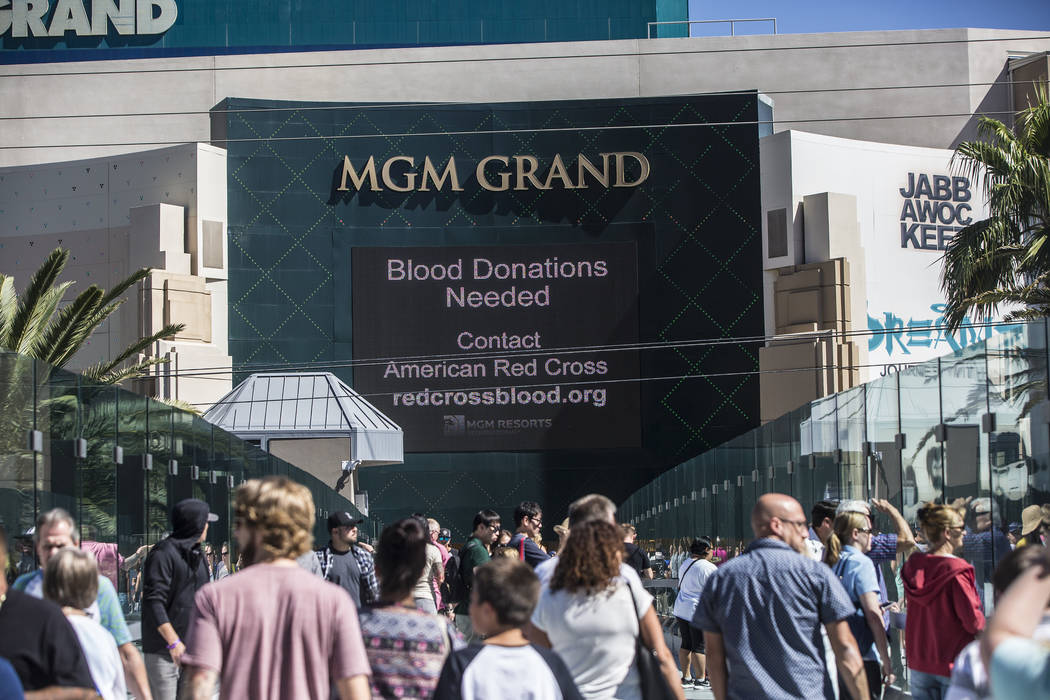 Signs asking for blood donations could be seen throughout the Strip on Monday, October 2, 2017, after a gunman in a Mandalay Bay hotel room shot into a crowd of thousands at an outdoor country mus ...