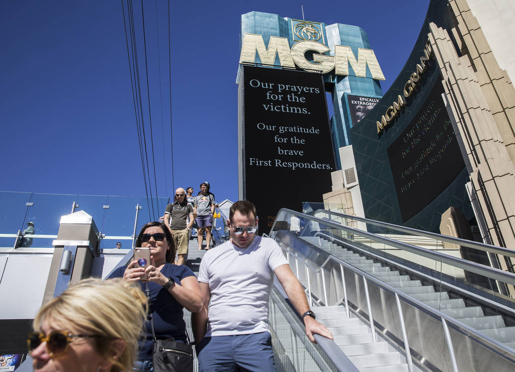 Signs praying for victims and praising first responders  could be seen throughout the Strip on Monday, October 2, 2017, after a gunman in a Mandalay Bay hotel room shot into a crowd of thousands a ...