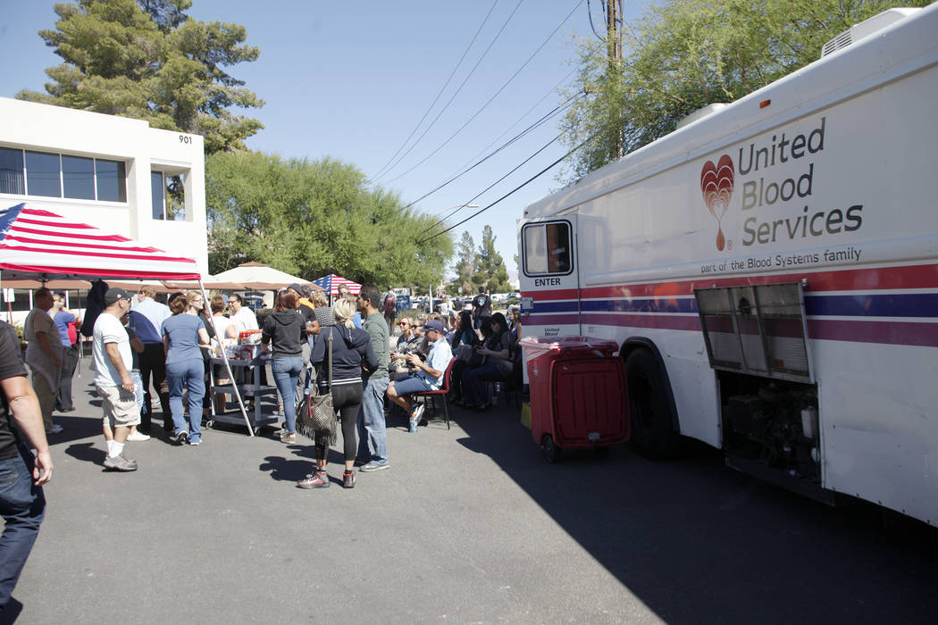 The University Medical Center blood donation area in their parking lot in Las Vegas, Monday, Oct. 2, 2017. UMC set up a blood donation area to assist with victims injured in the shooting at Mandal ...