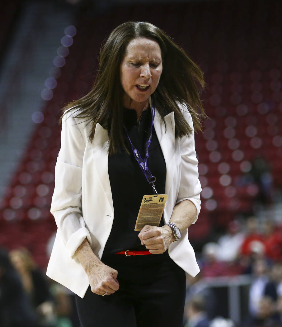 UNLV head coach Kathy Olivier reacts as her team trails Fresno State in the final moments of their game during the Mountain West Conference basketball tournament at the Thomas & Mack Center in ...