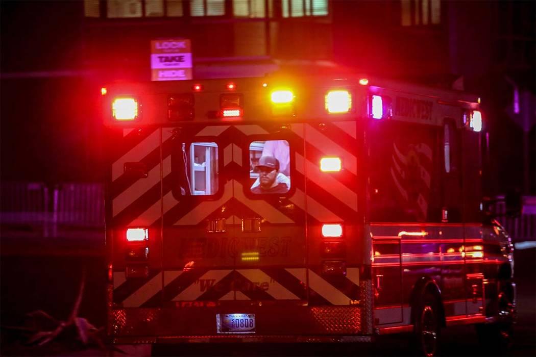 A victim from Sunday's mass shooting at the Route 91 Harvest Festival is taken to a Las Vegas hospital, Monday, Oct. 2, 2017. Joel Angel Juarez/Las Vegas Review-Journal @jajuarezphoto