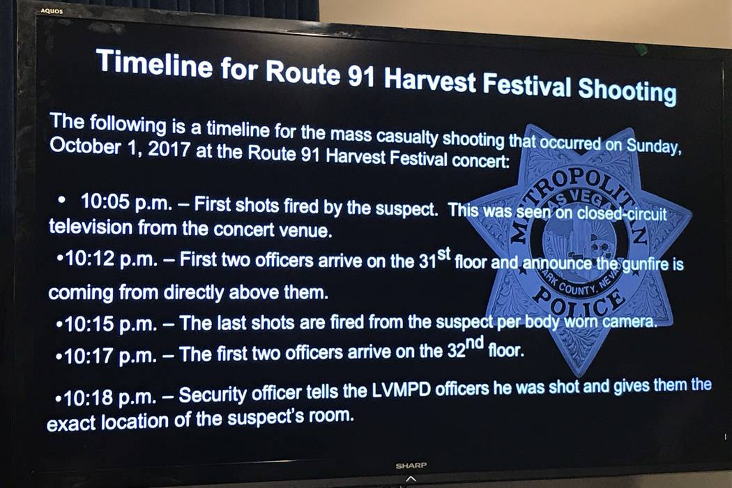 A screen displays part of the updated timeline of the Las Vegas Strip shooting, released by the Metropolitan Police Department on Wednesday, Oct. 5, 2017. (Rachel Crosby/Las Vegas Review-Journal)