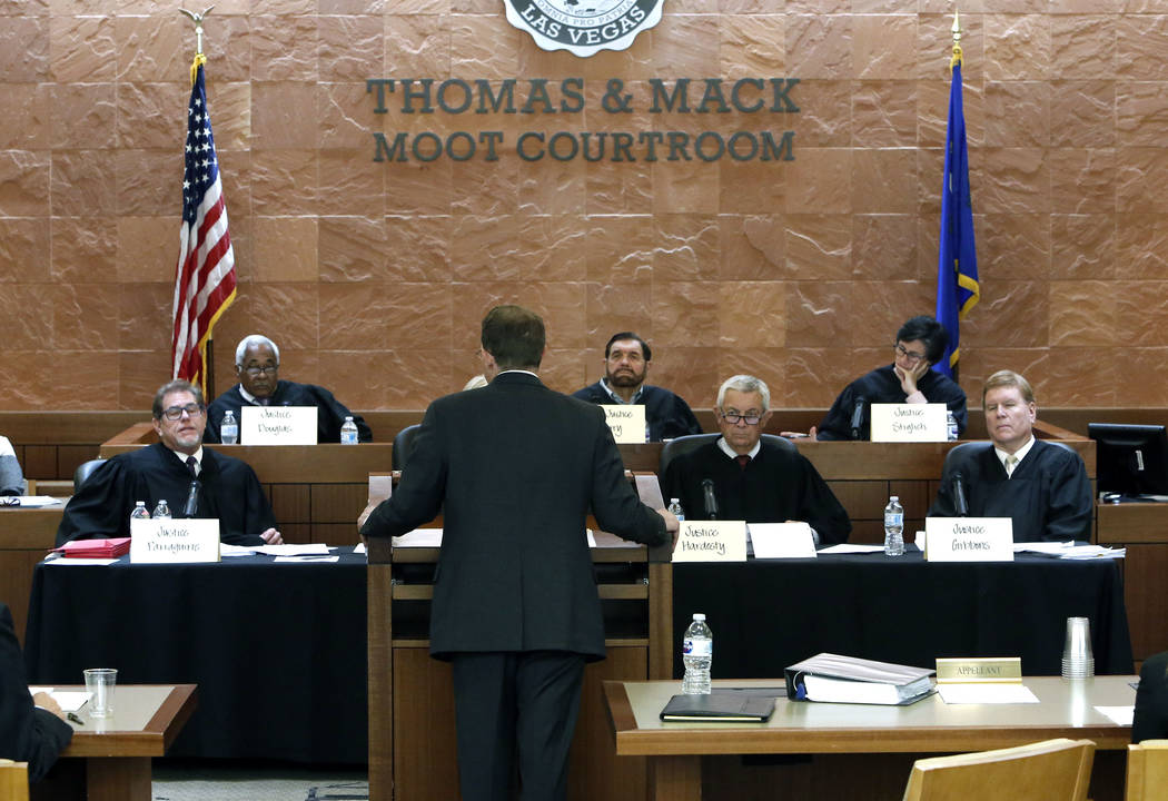 Kevin Benson, the attorney representing the alcohol distributors, argues before the Nevada Supreme Court in the legal battle over marijuana distribution at Thomas and Mack Moot Court on Tuesday, O ...