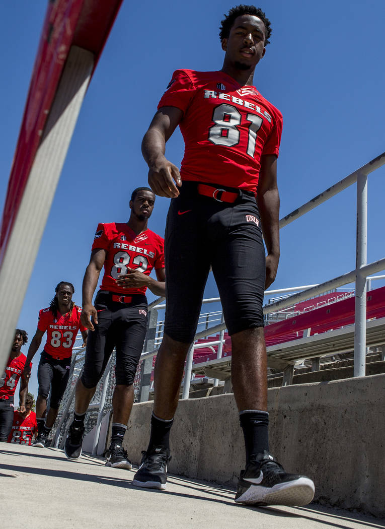 UNLV wide receivers Andre Collins Jr., from left, Elijah Trosclair, Devonte Boyd and Kendal Keys during photo day at Sam Boyd Stadium on Monday, Aug. 7, 2017.  Patrick Connolly Las Vegas Review-Jo ...