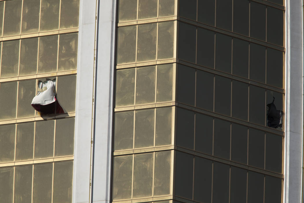 Broken windows at Mandalay Bay in Las Vegas Monday, Oct. 2, 2017, after a Strip shooting left 59 dead and over 527 injured Sunday night. Richard Brian Las Vegas Review-Journal @VegasPhotograph