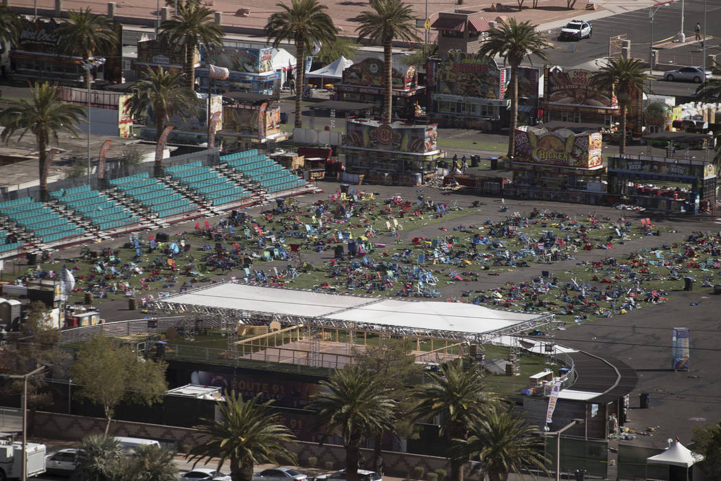 The Las Vegas Village festival grounds on the Las Vegas Strip Monday, Oct. 2, 2017, after a gunman opened fire killing more than 50 people and injuring more than 500 Sunday night. Richard Brian La ...