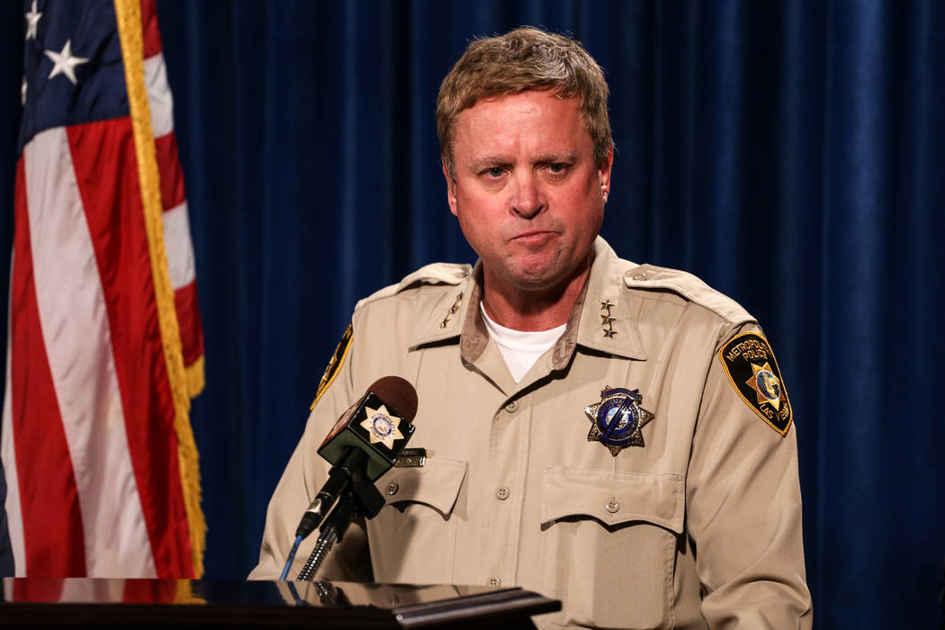Las Vegas Metro Police Department Undersheriff Kevin McMahill speaks during a press conference at the Las Vegas Police Department headquarters in Las Vegas, Tuesday, Oct. 3, 2017. Joel Angel Juare ...