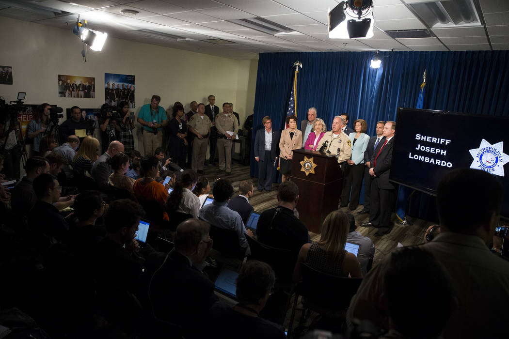 Clark County Sheriff Joe Lombardo discusses the mass shooting during a press conference at the Las Vegas Metropolitan Police Department headquarters in Las Vegas, Tuesday, Oct. 3, 2017. Erik Verdu ...
