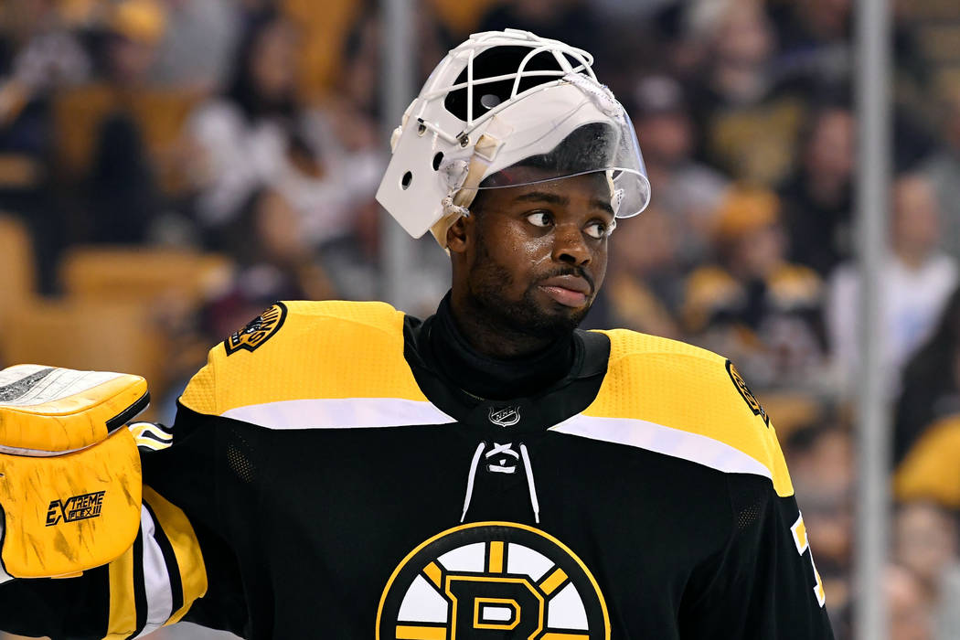 Sep 25, 2017; Boston, MA, USA; Boston Bruins goalie Malcolm Subban (70) during a media timeout against the Chicago Blackhawks at the TD Garden. Mandatory Credit: Brian Fluharty-USA TODAY Sports